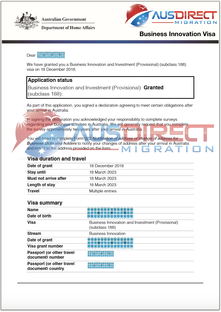 Business Innovation Visa